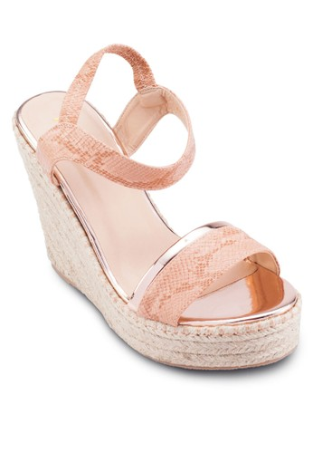 麻編楔型跟涼鞋, 女鞋,esprit 台北 鞋