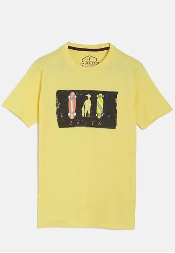 ZALZA yellow Ferrari 100% Organic Cotton Knitted Boys Crew T-Shirt- Yellow CE61AKAF741FBAGS_1