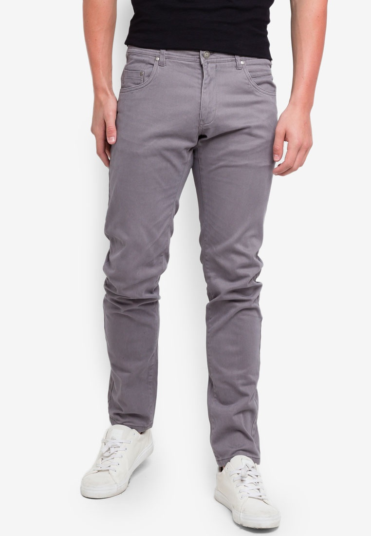 Satin Gray Trousers Stretch OVS Granite Fit Slim EqFwZZ