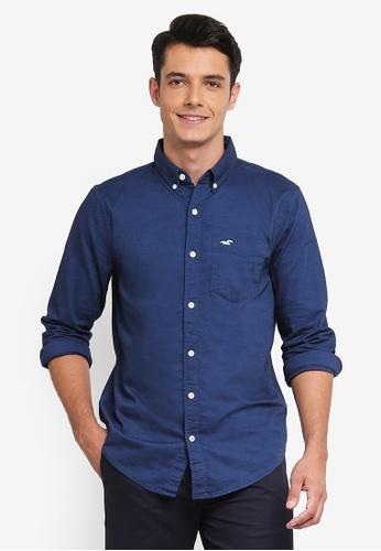 Hollister navy Long Sleeve Core Oxford Shirt 53202AA84157CBGS_1