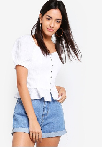 ZALORA white Bustier Top with Puffy Sleeves 3DCE8AABC42BA4GS_1