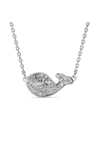 Her Jewellery silver Swarovski® Crystals - Whale Pendant (18K White Gold Plated) Her Jewellery 8BC9DAC036E1FBGS_1