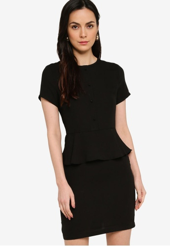 ZALORA WORK black Short Sleeve Peplum Dress 3F715AA01E9190GS_1