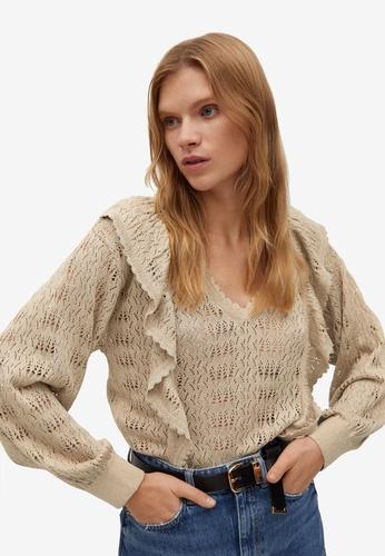Mango gold Frilled Openwork Sweater EAD0AAABCA5267GS_1
