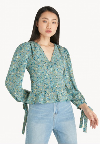 Pomelo green Puffed Sleeves Floral Blouse - Green 19280AA1C53481GS_1