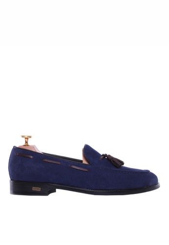 Zeve Shoes blue Zeve Shoes Tassel Loafer - Suede Navy Blue 4E3BBSHC5D0E60GS_1