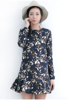 Festive Floral Dropwaist Dress