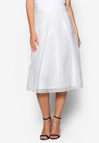 格紋薄紗及膝短裙esprit 品牌, 服飾, 清新俏皮