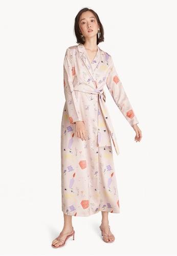 Buy Pomelo Maxi Art Illustrated Wrap Dress - Light Pink Online ...