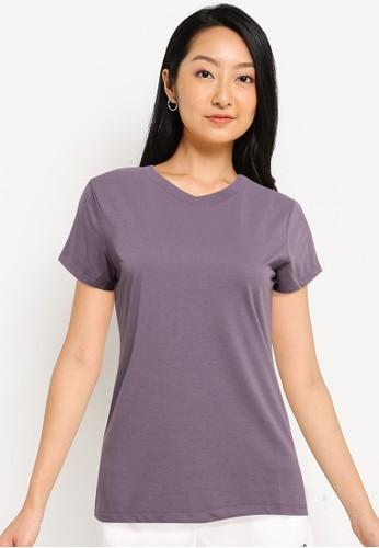 Tolliver purple Round Neck Basic Short Sleeve Tee 46E19AAB263EDFGS_1