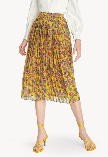 Pomelo yellow Midi Floral Pleated Skirt - Yellow A12B4AAFCBDD25GS_1