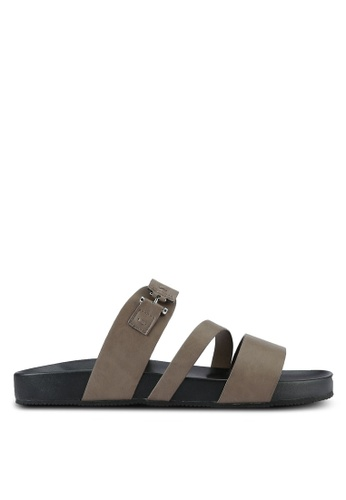 ZALORA grey Faux Leather Sandals A4486SHF3E7124GS_1