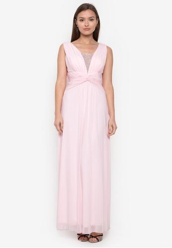 CIGNAL pink V-Neck Dress with Beading on V-drape Back D74D9AA87227C2GS_1