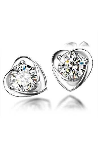 LYCKA silver LFF5224-LYCKA-S925 Siliver White Zircon Lover Hearts Earrings-Silver 1FFADACD3F4130GS_1