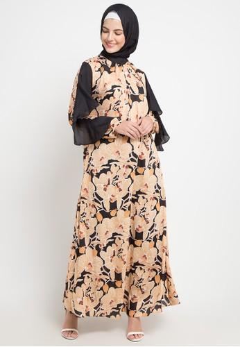 Allea by Itang Yunasz orange and multi Nanda Dress 6DC49AAB45F5FEGS_1