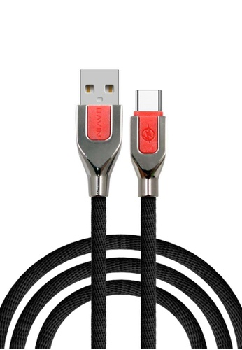 BAVIN black CB063 2.4A Metal USB Charging & Data Cable for Type C Phones 62543ACAB6D792GS_1