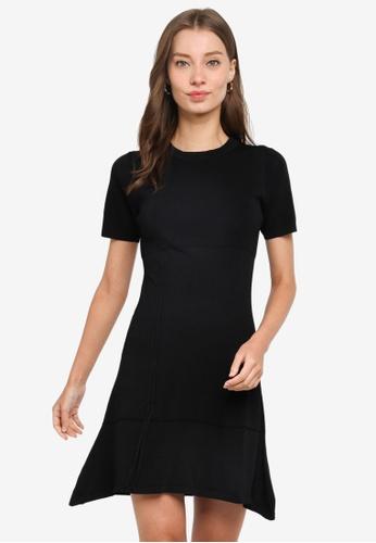 URBAN REVIVO black Mini Ruched Dress 5BE14AA0418D63GS_1