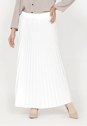 ZAHRA SIGNATURE white Long Skirt Plisket Ana 53423AA0A105DCGS_1