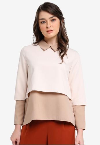Zalia beige Colour Block Layer Collar Top AC9EEAA429988FGS_1