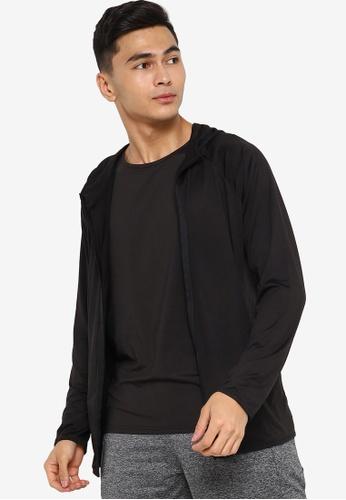 ZALORA ACTIVE black Active Mixed Fabric Hoodie E9C3EAA705EEC4GS_1