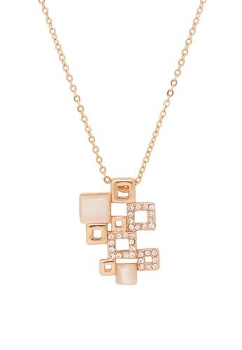 Jaysa Collection gold Square Grids Pendant Necklace JA875AC0F9MNSG_1