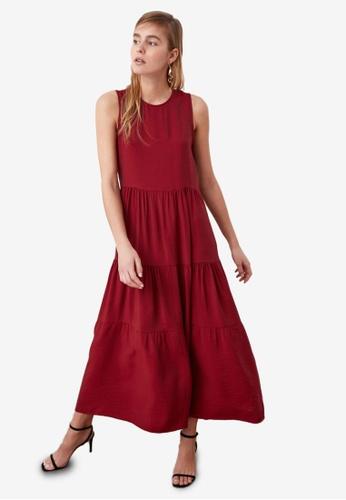 Trendyol red Tiered Maxi Dress 61F8FAAC544A82GS_1