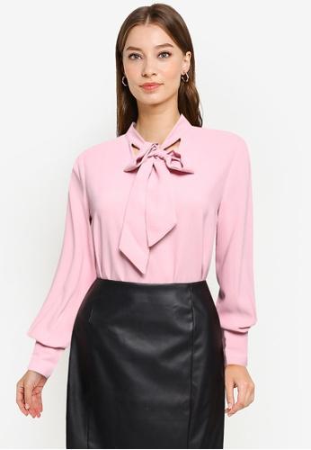 ZALORA WORK pink Tie Neck Blouse 20806AAB358315GS_1