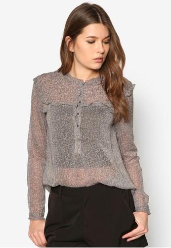 碎花透膚長袖zalora taiwan 時尚購物網上衣, 服飾, 服飾