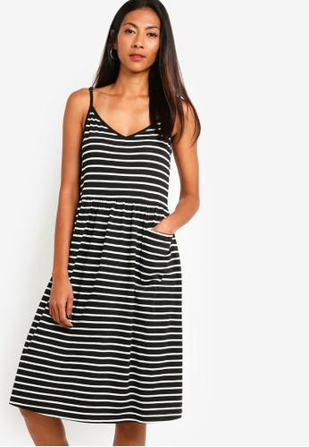 ZALORA BASICS black Basic Midi Cami Dress With Pocket 8B692AA1DDE724GS_1