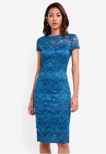 Goddiva blue Lace Midi Dress With Keyhole Back C1C33AA3652E3EGS_1