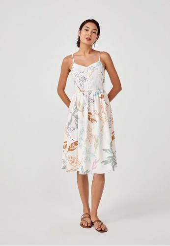 Love, Bonito beige Rhosyn Ruched Midi Dress in Vibrant Foliage D3268AAB8B0FB1GS_1