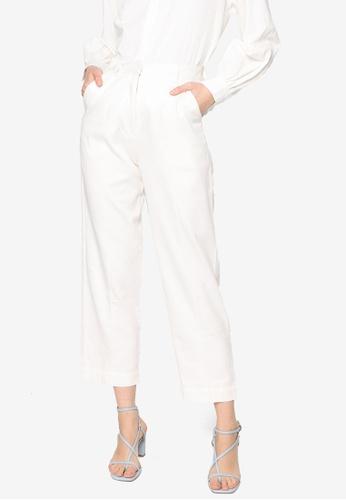 ZALIA BASICS white Pintuck Tapered Trousers BF064AA44C4E6FGS_1