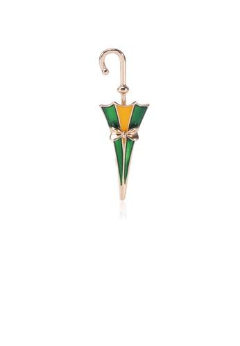 Glamorousky silver Fashion Creative Plated Gold Green Umbrella Brooch 525ECACEF5664DGS_1