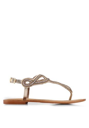 Vero Moda gold Liv Leather Sandals DCDCFSHE71F980GS_1