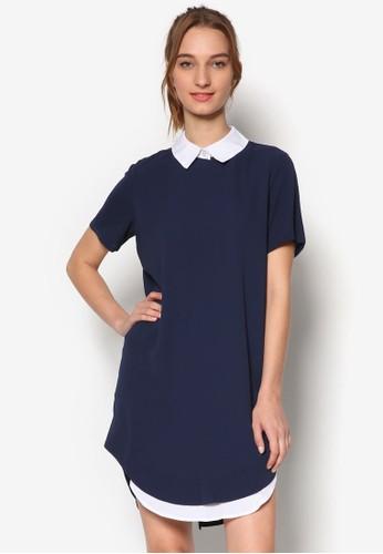 假兩esprit tsim sha tsui件撞色領短袖連身裙, 服飾, 服飾