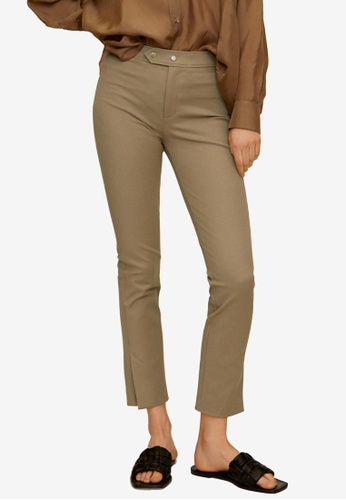 Mango brown Crop Slim-Fit Trousers BD05FAA53CAF67GS_1