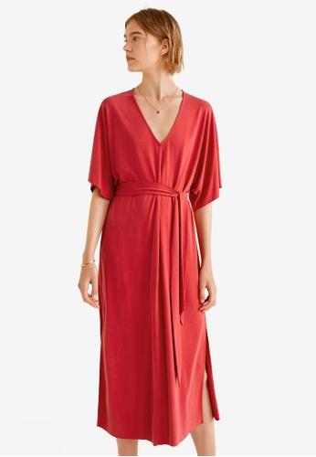 Mango red Bow Modal Dress 3340CAA4D006F5GS_1