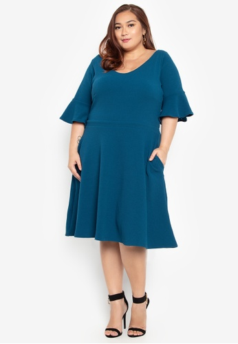ee1db1f1d114 Love Curves Clothing By Jgo blue Plus Size Fit And Flare Dress  59DD7AA3967665GS_1