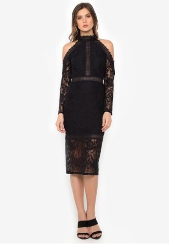 NOBASIC black Floral Lace Midi Dress E1F1BAAD673124GS_1