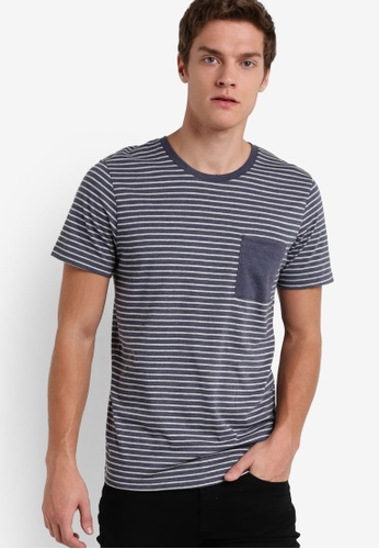 Selected Homme blue Stripe Pocket Tee SE364AA87QVGMY_1