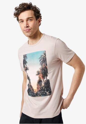 Burton Menswear London 粉紅色 印花T恤 A2465AA8C78F71GS_1