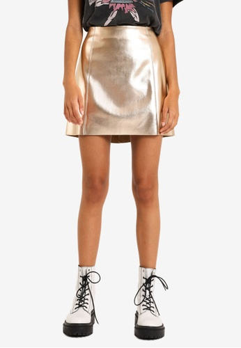 PIMKIE gold Faux Leather Mini Skirt 8F96DAAAD53D05GS_1