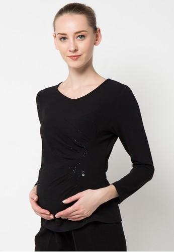 ELSY'S black Kaos Leher V Depan Mote Lengan Panjang EL744AA99CXCID_1