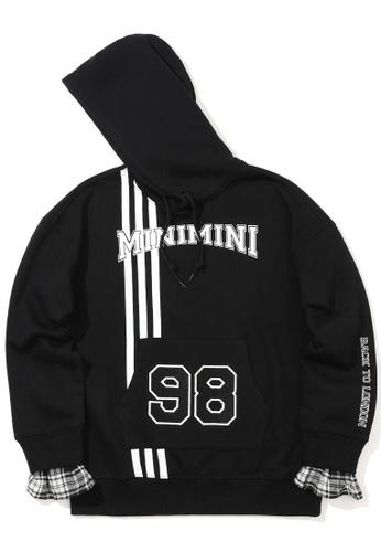 Mini cream black Plaid cuff hoodie C6A8EAA164A81EGS_1
