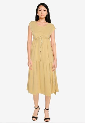ZALORA BASICS yellow Cap Sleeve Tiered Dress FAF93AACFE7F92GS_1