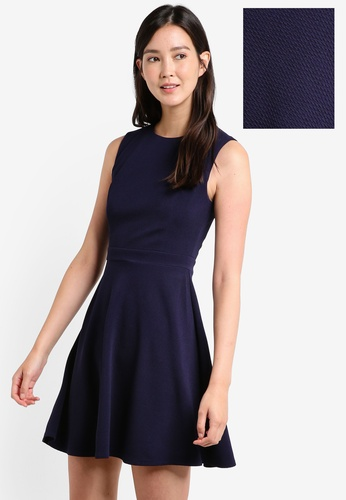 ZALORA navy Textured Knit Dress 4E34BAA55AA48EGS_1