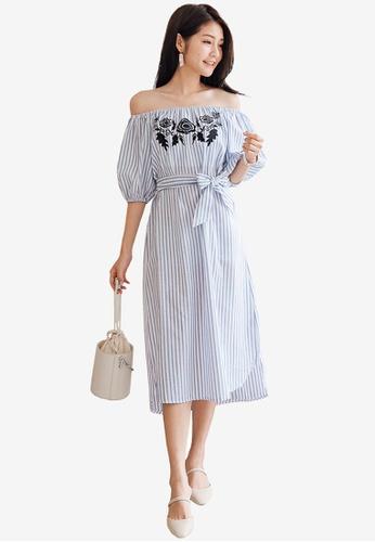 Tokichoi blue Striped Off Shoulder Dress 77D72AA6B5D7BBGS_1