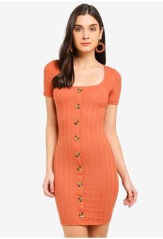 1c6ee999dd46 Miss Selfridge brown Rust Textured Button Mini Dress 002EAAA1A09A72GS_1