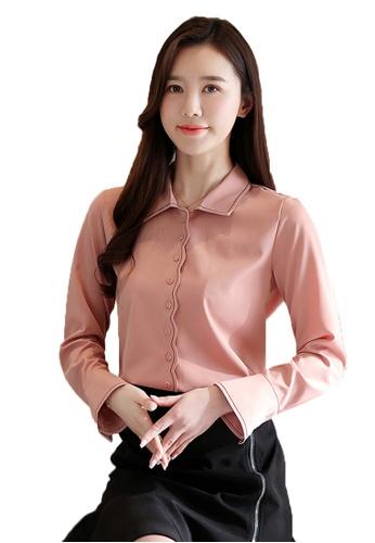 Halo pink OL Long Sleeves Blouses F20B5AAE80F80FGS_1