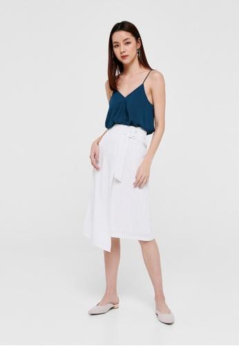 Love, Bonito white Harley Belted Pinstripe Midi Skirt 5700DAAF55EA51GS_1